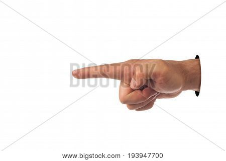 Index finger finger hands up on white isolated background