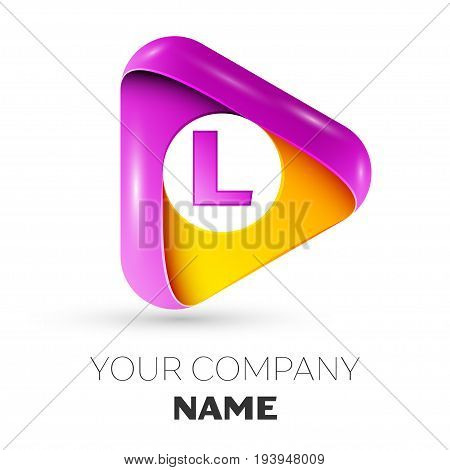 Realistic letter L vector logo symbol in the colorful triangle on white background. Vector template for your design