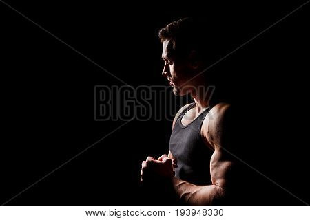 Fitness concept. Shape of muscular and sexy young athletic man. Male hunk with sporty body
