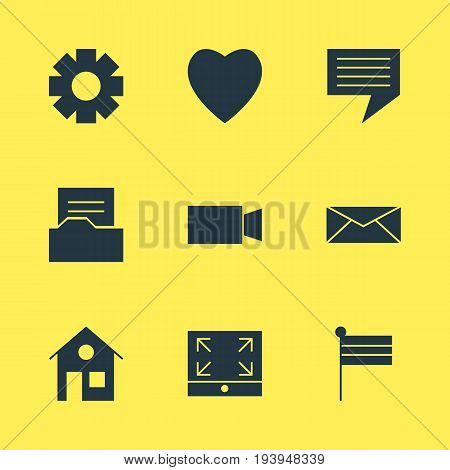 Vector Illustration Of 9 Internet Icons. Editable Pack Of Document Directory, Letter, Video Camera And Other Elements.