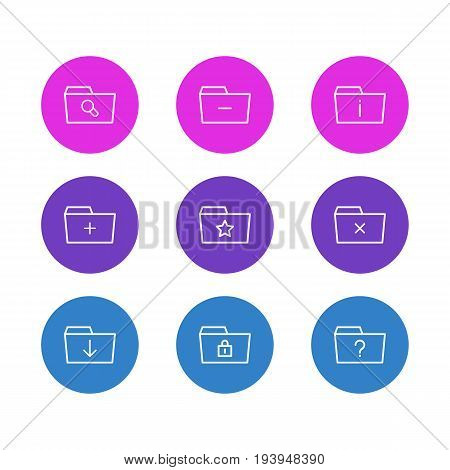 Vector Illustration Of 9 Document Icons. Editable Pack Of Pinned, Plus, Information And Other Elements.