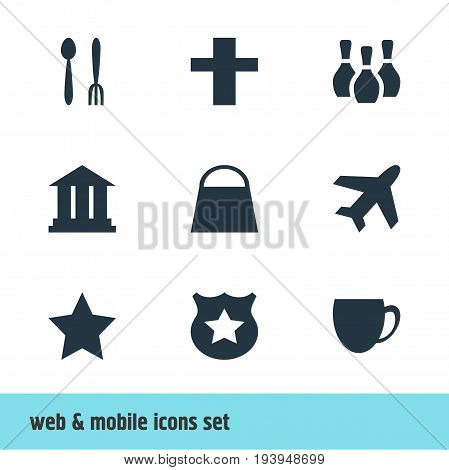 Vector Illustration Of 9 Travel Icons. Editable Pack Of Skittles, Cop, University And Other Elements.