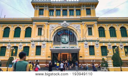 Ho Chi Minh City Vietnam - May 27 2017: Unidentified Tourists Near General Post Office It Was Built By French In 1880s And Is Now A Popular Tourists Attraction In Ho Chi Minh City Vietnam.
