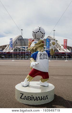 Sochi, Russia - June 18, 2017: Mascot Of The 2018 World Cup Zabivaka In Front Of The Stadium
