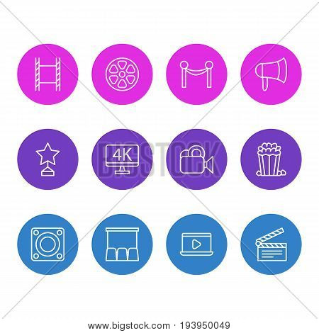 Vector Illustration Of 12 Film Icons. Editable Pack Of Snack, Hall, Filmstrip And Other Elements.