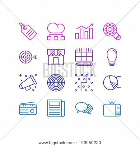 Vector Illustration Of 16 Marketing Icons. Editable Pack Of Discussing, Tactical Plan, Announcement And Other Elements.