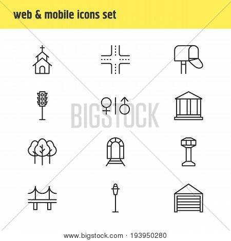 Vector Illustration Of 12 Public Icons. Editable Pack Of Lamppost, Golden Gate, Building And Other Elements.