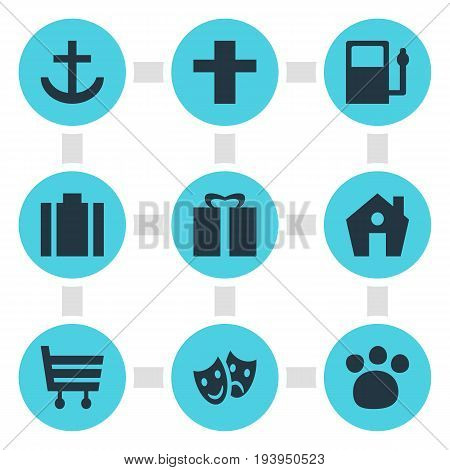 Vector Illustration Of 9 Location Icons. Editable Pack Of Present, Shopping Cart, Home And Other Elements.