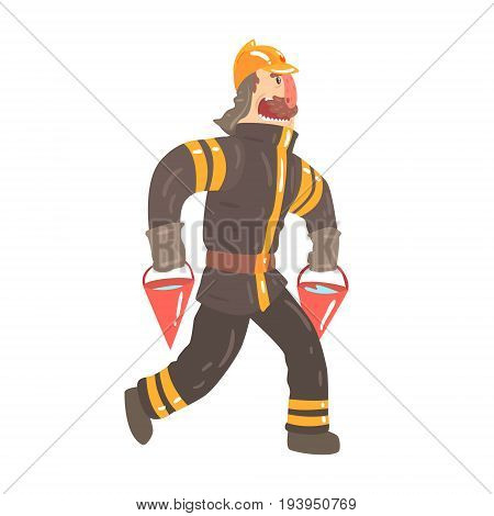 Firefighter in safety helmet and protective suit running with red buckets full of water cartoon character vector Illustration isolated on a white background