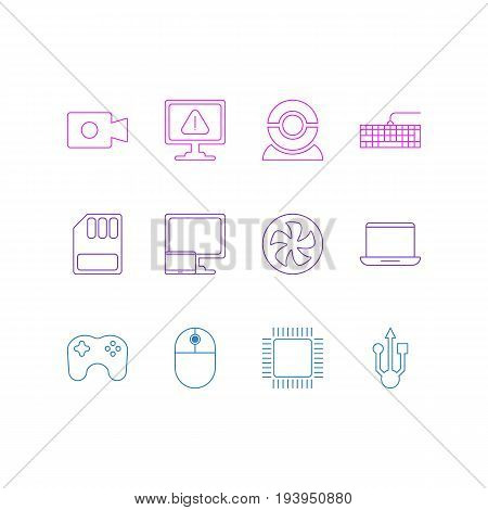 Vector Illustration Of 12 Laptop Icons. Editable Pack Of Usb Icon, Microprocessor, Movie Cam And Other Elements.