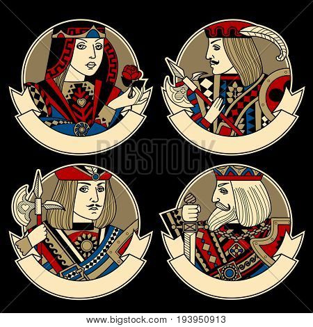 Round shapes with faces of playing cards characters and ribbons for text. Original vintage icon set design