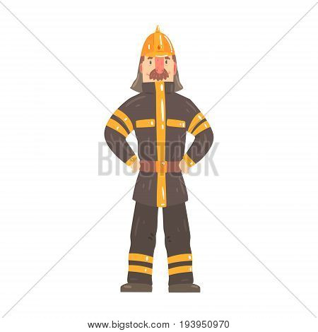 Firefighter character in safety helmet and protective suit standing cartoon vector Illustration isolated on a white background