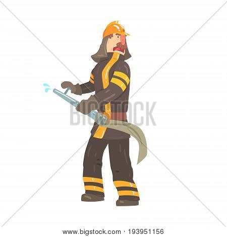Firefighter in safety helmet and protective suit standing with water hose cartoon character vector Illustration isolated on a white background