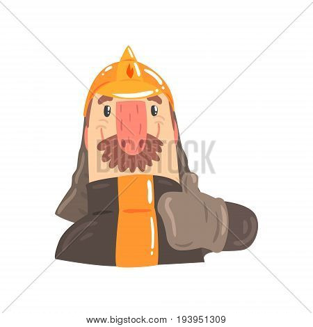 Firefighter in safety helmet and protective suit giving thumbs up sign cartoon character vector Illustration isolated on a white background