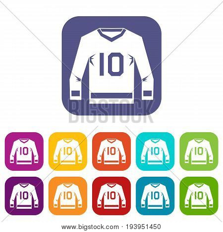 Hockey jersey icons set vector illustration in flat style In colors red, blue, green and other