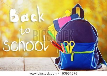 Full School Backpack On Autumn Nature Background. Concept Back To School.