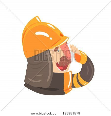 Firefighter in safety helmet and protective suit, side view cartoon character vector Illustration isolated on a white background