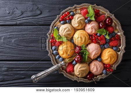Colorful Shortbread Cookie With Fresh Summer Berries Close-up On The Table. Horizontal Top View