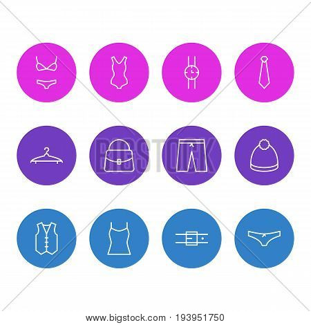 Vector Illustration Of 12 Clothes Icons. Editable Pack Of Strap, Singlet, Cloakroom And Other Elements.