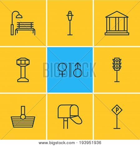 Vector Illustration Of 9  Icons. Editable Pack Of Mail Box, Bench, Control Tower And Other Elements.