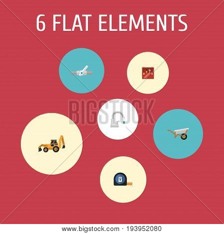 Flat Icons Excavator, Pipeline Valve, Faucet And Other Vector Elements. Set Of Construction Flat Icons Symbols Also Includes Faucet, Measure, Handcart Objects.
