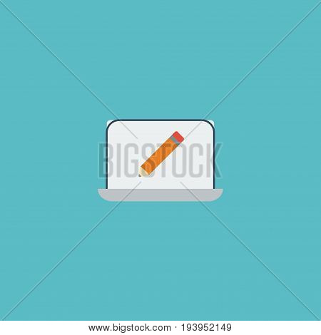 Flat Icon Monitor Element. Vector Illustration Of Flat Icon Screen Isolated On Clean Background. Can Be Used As Monitor, Screen And Pencil Symbols.