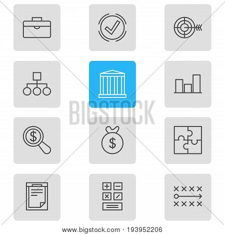 Vector Illustration Of 12 Trade Icons. Editable Pack Of Riddle, Building, Calculate And Other Elements.