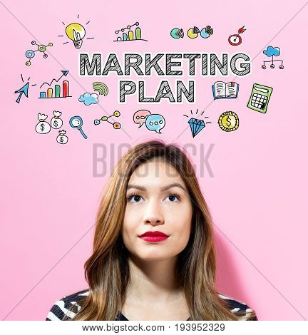 Marketing Plan text with young woman on a pink background