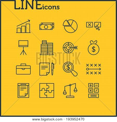 Vector Illustration Of 16 Management Icons. Editable Pack Of Cash, Riddle, Goal And Other Elements.