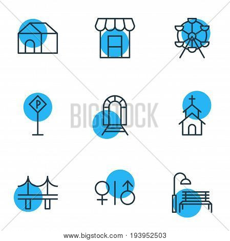 Vector Illustration Of 9 Infrastructure Icons. Editable Pack Of Ferris Wheel, Awning, Subway And Other Elements.