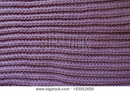 Handmade Mauve Rib Lnit Fabric With Horizontal Wales