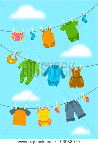 Baby clothes hanging on ropes with clothespins. Vector flat vertical background. Newborn kid welcome banner. Baby shower party cartoon card. Garments for little boy and girl drying on sky backdrop