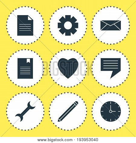 Vector Illustration Of 9 Online Icons. Editable Pack Of Pen, Document, Bookmark And Other Elements.