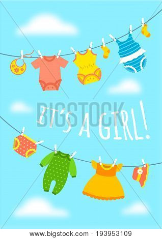 It's a girl cartoon cute greeting card. Baby shower party invitation vertical cover. Vector flat illustration. Newborn child's clothes hanging on ropes opposite blue sky. Sweet postcard for new mother