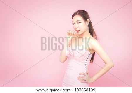 Korean Woman Fashion Set Sweet Pink Sexy Girl, Woman With Skin Care Concept, Isolated With Pink Back