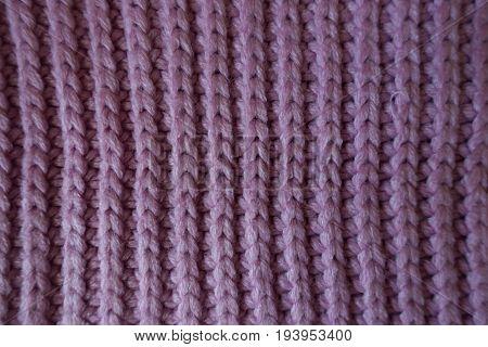 Vertical Wales Of Handmade Pink Rib Knit Fabric