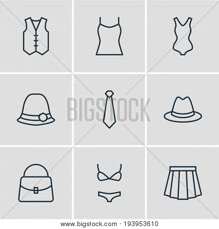 Vector Illustration Of 9 Garment Icons. Editable Pack Of Cravat, Singlet, Handbag Elements.