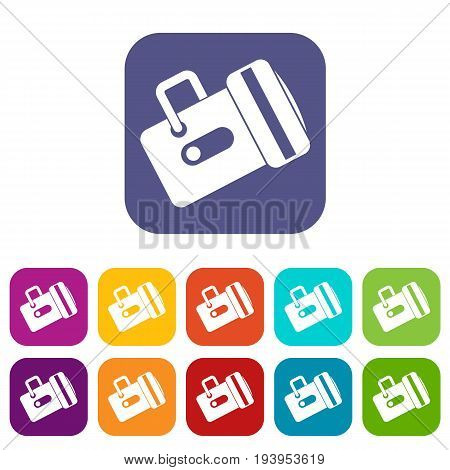 Flashlight icons set vector illustration in flat style In colors red, blue, green and other
