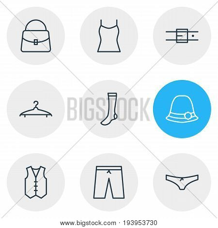 Vector Illustration Of 9 Garment Icons. Editable Pack Of Handbag, Waistcoat, Cloakroom Elements.
