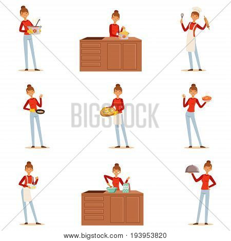 Smiling woman chef cook in white apron preparing and serving a variety of dishes, set of colorful detailed vector Illustrations isolated on white background