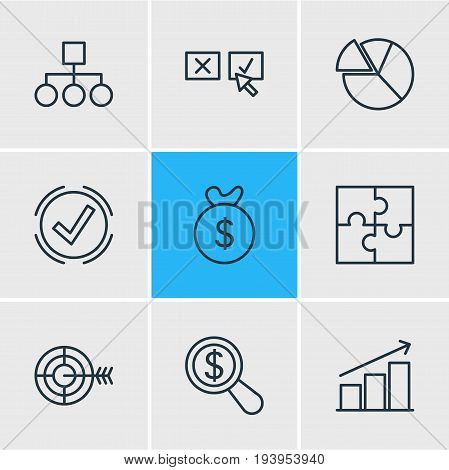 Vector Illustration Of 9 Management Icons. Editable Pack Of Riddle, Solution, Recision And Other Elements.