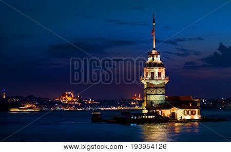 Maiden's Tower and cityscape of Istanbul at night, Turkey