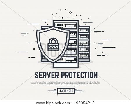 Server or computer security concept. Three cloud servers defended by shield with padlock. Thick lines and flat style illustration. Server with display and abstract lines.