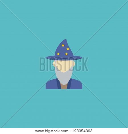 Flat Icon Astrologer Element. Vector Illustration Of Flat Icon Augur Isolated On Clean Background. Can Be Used As Astrologer, Augur And Human Symbols.
