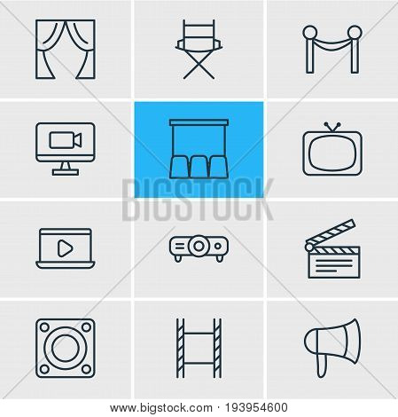 Vector Illustration Of 12 Movie Icons. Editable Pack Of Tv, Slideshow, Theater And Other Elements.