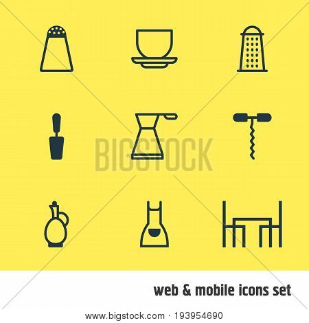 Vector Illustration Of 9 Kitchenware Icons. Editable Pack Of Wine Opener, Slicer, Dinner Table And Other Elements.