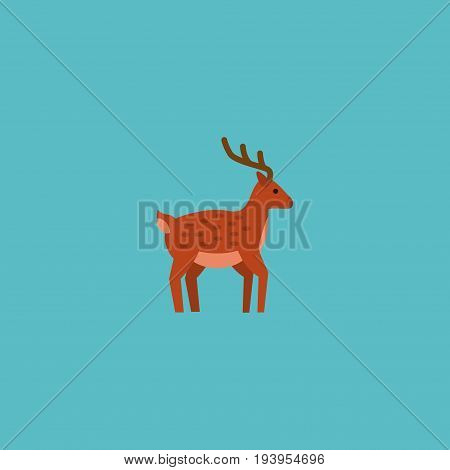 Flat Icon Deer Element. Vector Illustration Of Flat Icon Moose Isolated On Clean Background. Can Be Used As Moose, Deer And Gazelle Symbols.