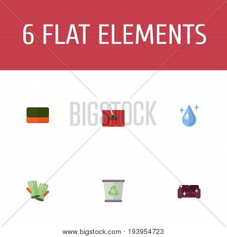 Flat Icons Sofa, Aqua, Garbage Container And Other Vector Elements. Set Of Cleaning Flat Icons Symbols Also Includes Bast, Cleaning, Junk Objects.