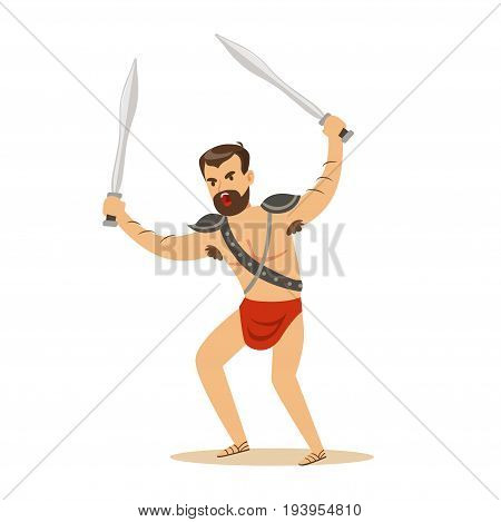 Warrior character, naked man in a red loincloth with two swords vector Illustration isolated on a white background