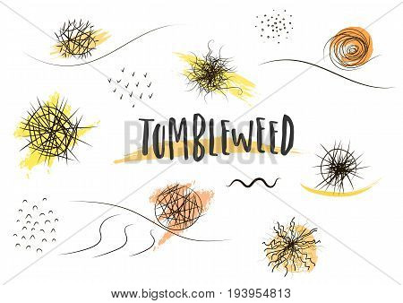 Vector set of hand-drawn black tumbleweed silhouettes of different types and sizes.